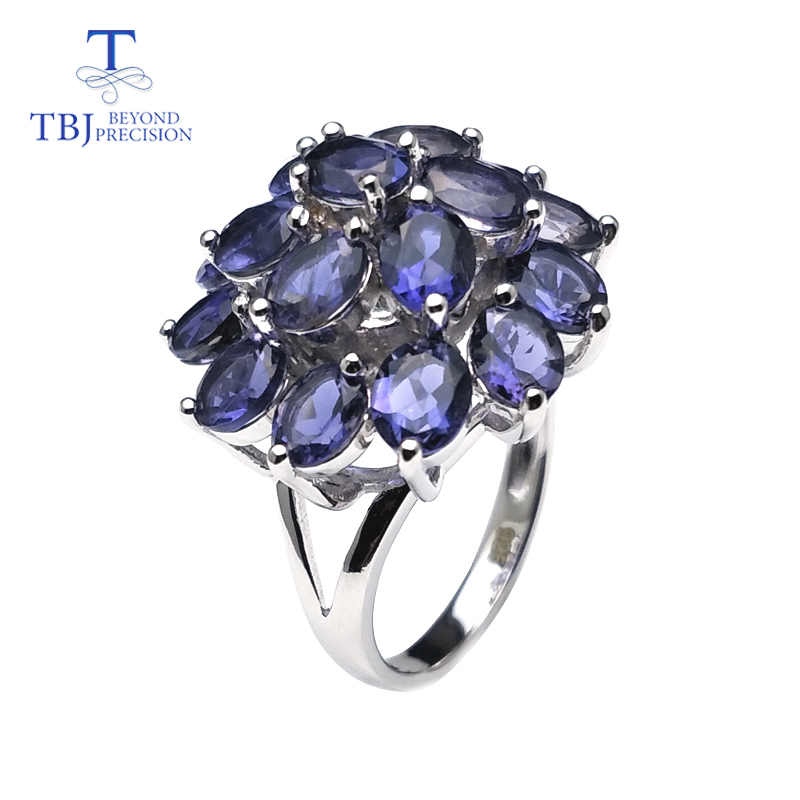 TBJ,Elegance natural iolite gemstone jewelry set in 925 sterling silver best ring pendant earring for women daily party wear