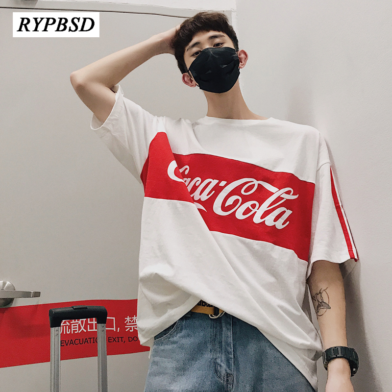 Harajuku Stripe T <font><b>shirt</b></font> Summer 2020 <font><b>Mens</b></font> <font><b>Korean</b></font> <font><b>Style</b></font> Letter Cola Cotton Short Sleeve <font><b>Oversized</b></font> T <font><b>shirt</b></font> <font><b>Men</b></font> Hip Hop Casual Tee image
