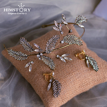 Himstory Baroque Leaves Crystal Brides Headbands with Earring Gun-Brass Bridal Tiara Headpieces Evening Headdress