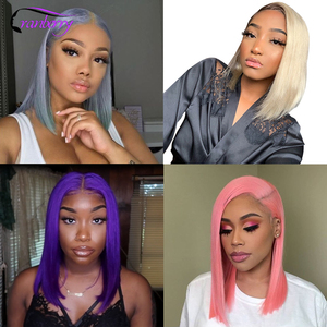 Image 3 - Remy Brazilian Straight Short Bob Wig Colored Bob Wig Lace Front Human Hair Wig For Woman Glueless Pre Plucked Natural Hairline