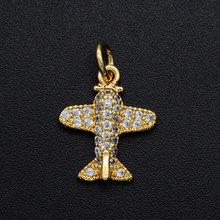 12x14mm CZ Zircon bijoux à bricoler soi-même avion pendentif à breloque en gros bijoux accessoires collier faisant des breloques