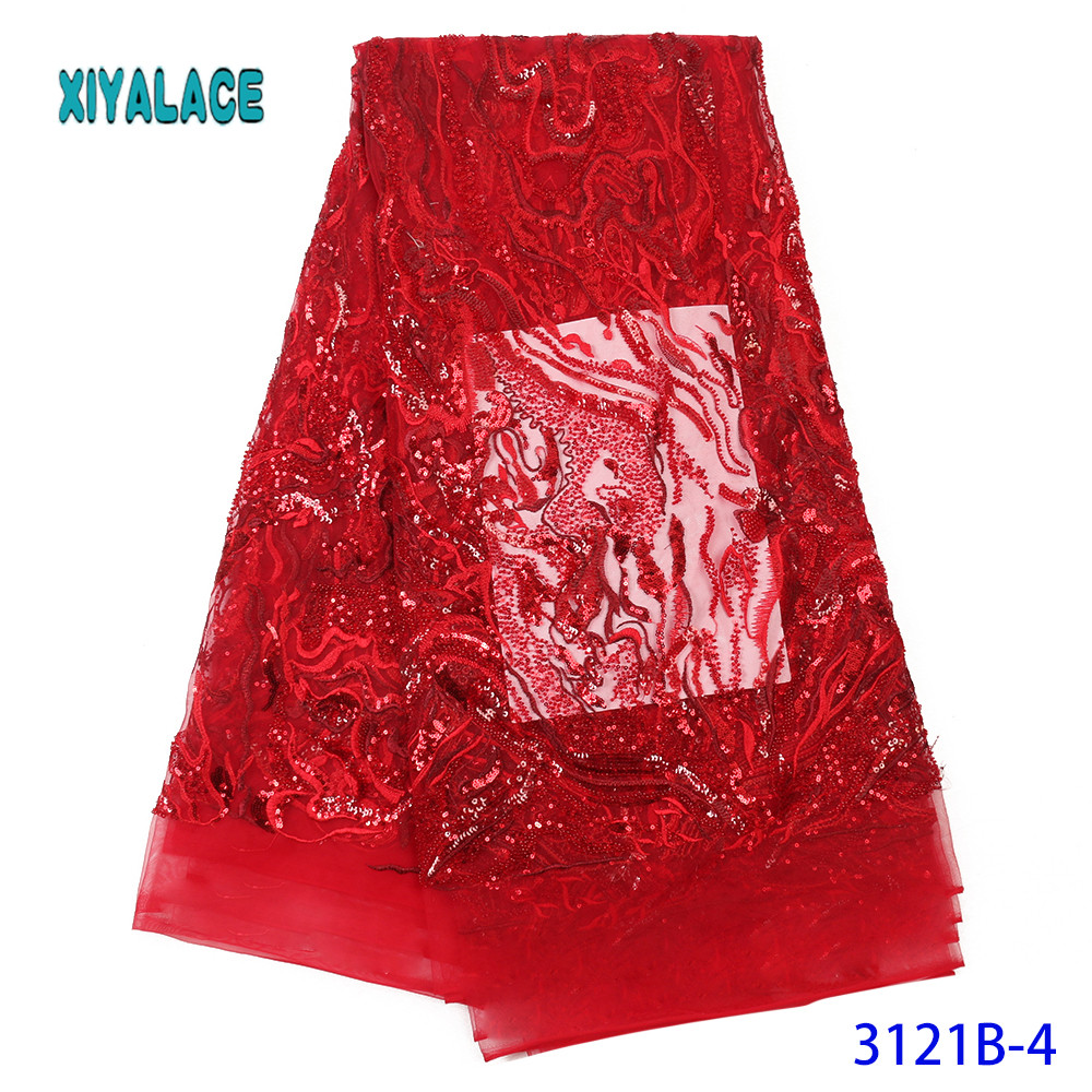 Nigerian Beaded Sequins Lace Fabric 2019 High Quality African Lace Fabric Wedding French Tulle Lace Material For Dress YA3121B-4