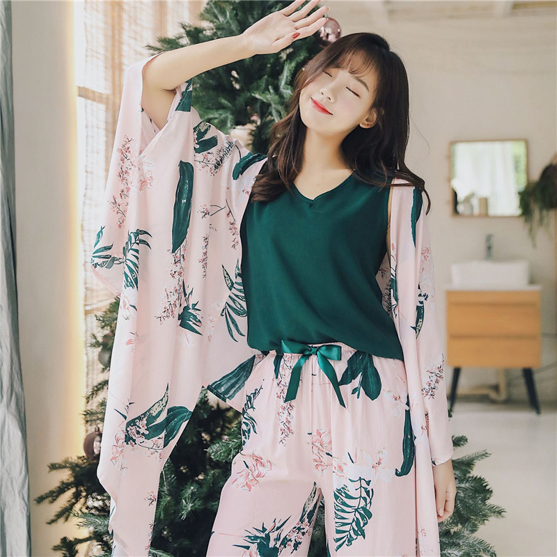 2020 JULY'S SONG 4 Piece Spring Summer Women Pajamas Sets Floral Printed Viscose Robe Top and Shorts Female Sleepwear Night Suit 1