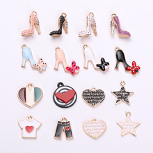 10pcs Drop Oil High Heels Shoes Enamel Charms Star Heart Design Alloy Pendants DIY Earrings Bracelet Jewelry Decor FX101
