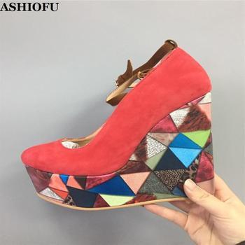 ASHIOFU Handmade Women Wadge Heel Pumps Multicolored Faux-suede Party Dress Shoes Buckle-strap Evening Fashion Court Shoes