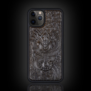 Image 5 - Luxury Carved 3D Stereo Ebony Wood Case for iPhone 11 iPhone11 TPU Full Protective Back Cover Phone Cases For iPhone 11 Pro Max