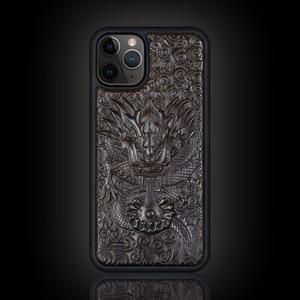Image 5 - Luxus Geschnitzt 3D Stereo Ebenholz Holz Fall für iPhone 11 iPhone11 TPU Voll Schutzhülle Zurück Abdeckung Telefon Fällen Für iPhone 11 Pro Max
