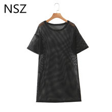 NSZ women oversized grid t shirt summer long t-shirt top mesh fishnet hollow out sexy tee shirt streetwear(China)