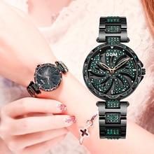 DOM יוקרה אופנה נשים שעונים ליידי שעון נירוסטה שמלת נשים בלינג ריינסטון שעון קוורץ יד שעונים G 1258BK 1MF