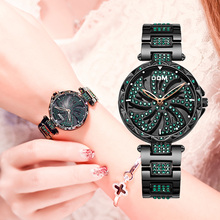 Dom Luxe Fashion Vrouwen Horloges Lady Horloge Rvs Jurk Vrouwen Bling Strass Horloge Quartz Horloges G 1258BK 1MF