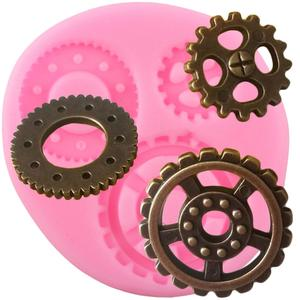 Industrial Steampunk Gears Silicone Mold Chocolate Candy Clay Molds Baby Birthday Cupcake Topper Fondant Cake Decorating Tools(China)