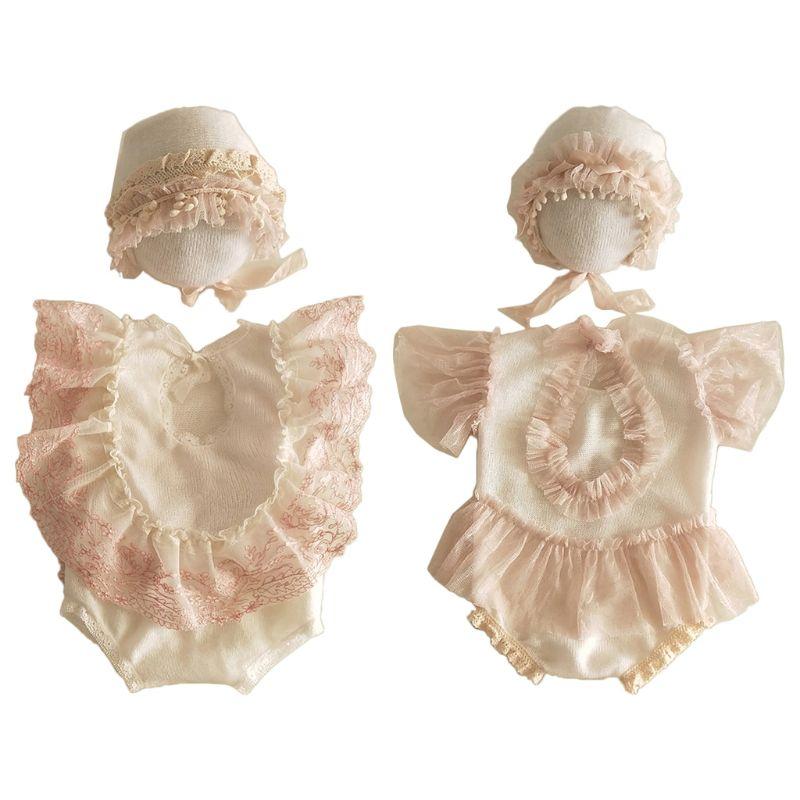 2Pcs Newborn Photography Props Suit Lace Romper Hat Set Knit Outfits Clothing K1KC