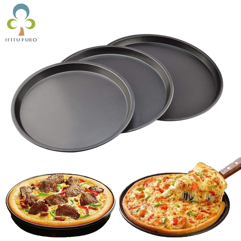Round Pizza Plate Pizza Pan Deep Dish Tray Carbon Steel Non stick Mold Baking Tool Baking Mould Pan Pattern 7 8 9 10 inch ZXH|Pizza Tools|   - AliExpress