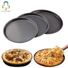 Круглая тарелка для пиццы, Глубокая Тарелка для пиццы, поднос из углеродистой стали, антипригарный инструмент для выпечки хлеба, форма для сковороды с рисунком 6 8 9 10 дюймов ZXH