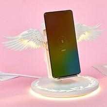 Wireless Charger Angel Wings Night Light Mobile Phone For Samsung iPhone Huawei Xiaomi Airpods All Smart