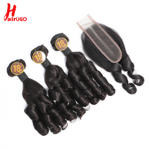 Romance Curl Hair Bundles With Closure Brazilian Human Hair HairUGo Remy Spiral Curl 3 Bundles With Closure 1 Set for Full Head
