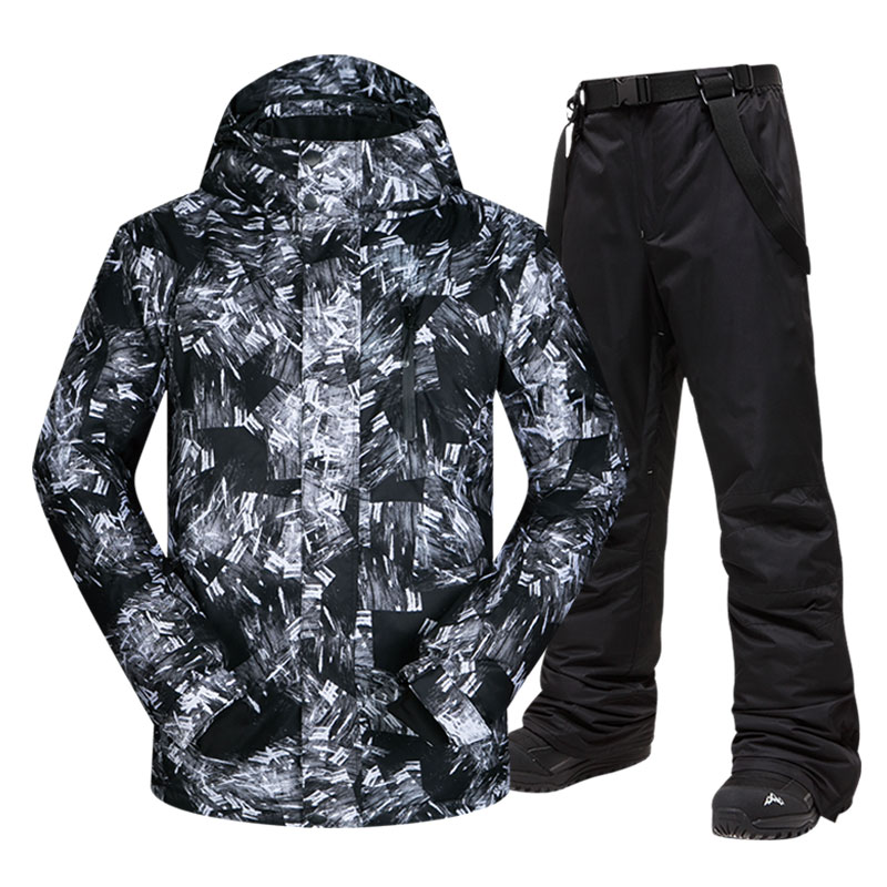Ski Suit Men Winter Warm Waterproof Breathable And Touch Screen Gloves Snow Jacket And Pants Skiing And Snowboarding Jacket Men