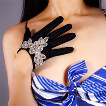 Suede Gloves Diamond 16cm Short Class A Rhinestone Glass Flower Shape Emulation Leather Matte Black Womens P99