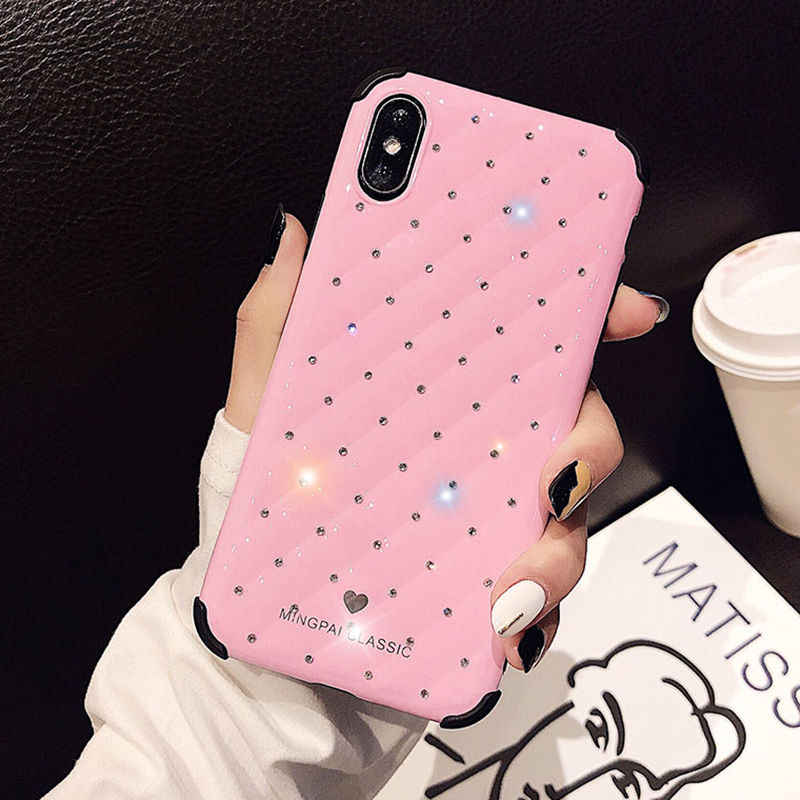 Shockproof Glitter Diamond Phone Case For iPhone XR XS Max XS 7 8 Plus 6 6S Plus Armor Soft Silicone Shining Back Cover