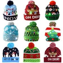 Рождественские шапки, свитер, Вязаная Шапка-бини с Санта-лосем и светодиодсветильник кой, мультяшный рисунок, рождественский подарок для де...
