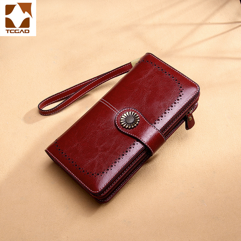 Luxury Brand Hollow Women Clutch Leather Wallet Female Long Wallet Women Zipper Purse Strap Money Bag Purse For IPhone Carteira