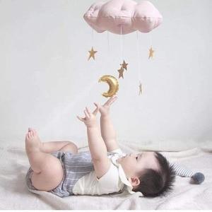Image 1 - OLOEY Kids Room Decor Nordic Rainbow Cloud with Raindrop Wall Hanging Cloud Baby Room Moon Star Wall Decor Stuffed Clouds Toy