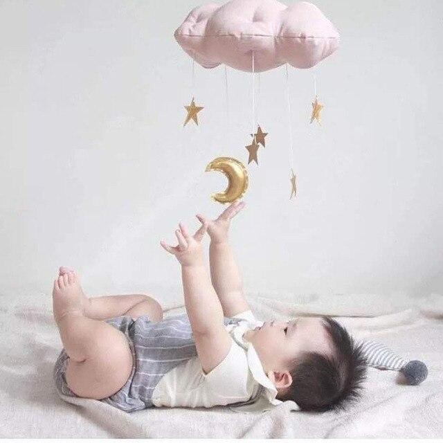 OLOEY Kids Room Decor Nordic Rainbow Cloud with Raindrop Wall Hanging Cloud Baby Room Moon Star Wall Decor Stuffed Clouds Toy