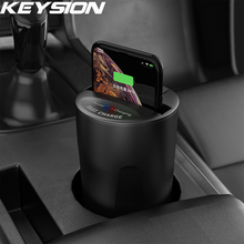 KEYSION 10W Fast Qi Wireless Charger for iPhone 11 Pro XS Max XR Car Cup Holder Charging Stand for Samsung S10 S9 S8 S7 Note 10