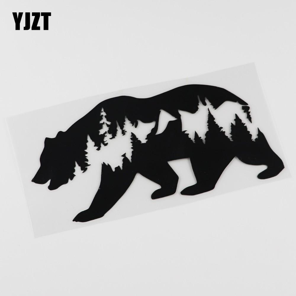 YJZT 17.3CMX8.6CM Cartoon Bear Wildlife Camper Car Truck  Decal  Vinyl Car Sticker 13C-0080