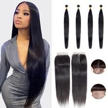 Straight 3 Bundels Met Sluiting Peruaanse Hair Weave Bundels Met Kant Sluiting 4X4 Remy Human Hair Bundel Met sluiting