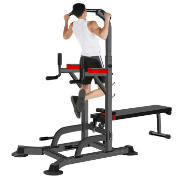 One Fit Power Tower Dip Station Pull Up Bar Fitness Equipment Strength Training With Dumbbell Bench or Home Gym Indoor Horizonta image