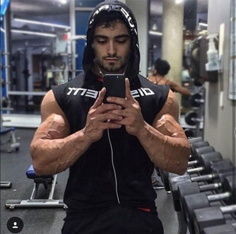 Image 5 - Muscle men Brand Gyms Clothing Fitness Men Tank Top hooded Mens Bodybuilding Stringer Tanktop workout Singlet Sleeveless ShirtTank Tops   -