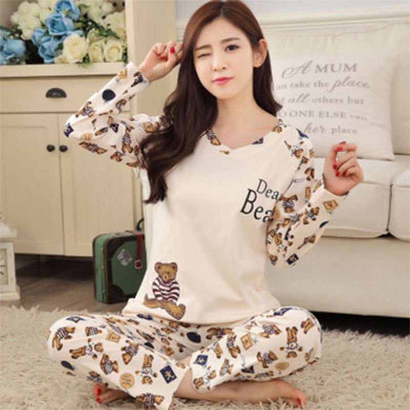 Jun Xin Pajamas Women's Spring And Autumn Sweet Printed Thin Pullover Hot Selling Cartoon Beige Bear Long Sleeve Tracksuit Case