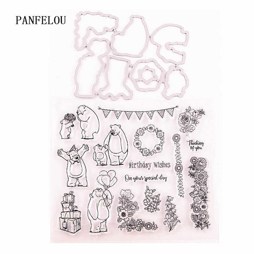 Girl and Teddy Bear Transparent Clear Stamps Metal Cutting Dies