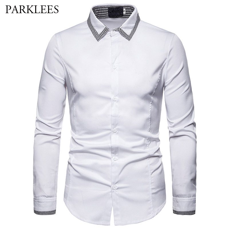Houndstooth Design Collar Shirts Men's White And Black 2019 New Fashion Slim Fit Casual Business Long-sleeved Shirt For Men