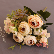 Lism 27cm Rose Pink Silk Camellia Artificial Flowers Bouquet 4 Big 2 Small Head Fake for Home Wedding Decoration Indoor