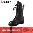 ASUMER/черные модные ботинки; сезон осень зима; женские ботинки до середины икры на молнии с перекрестной шнуровкой; классические женские боти...