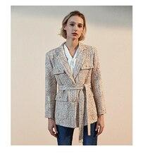 2020 New Fashion Autumn Winter Tweed Jacket Coat Runway Luxury High Quality Cotton Wool Blazer Female Woolen Clothes Outerwear