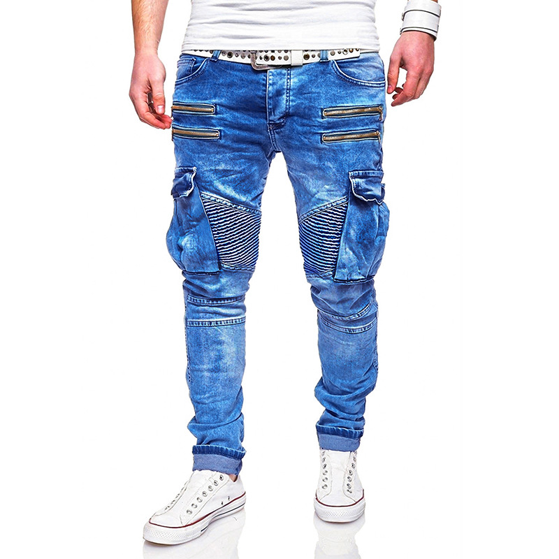 Men's brand new creative fashion personality leisure sleeve long jeans zipper decoration jeans men mens jeans brand mens jeans