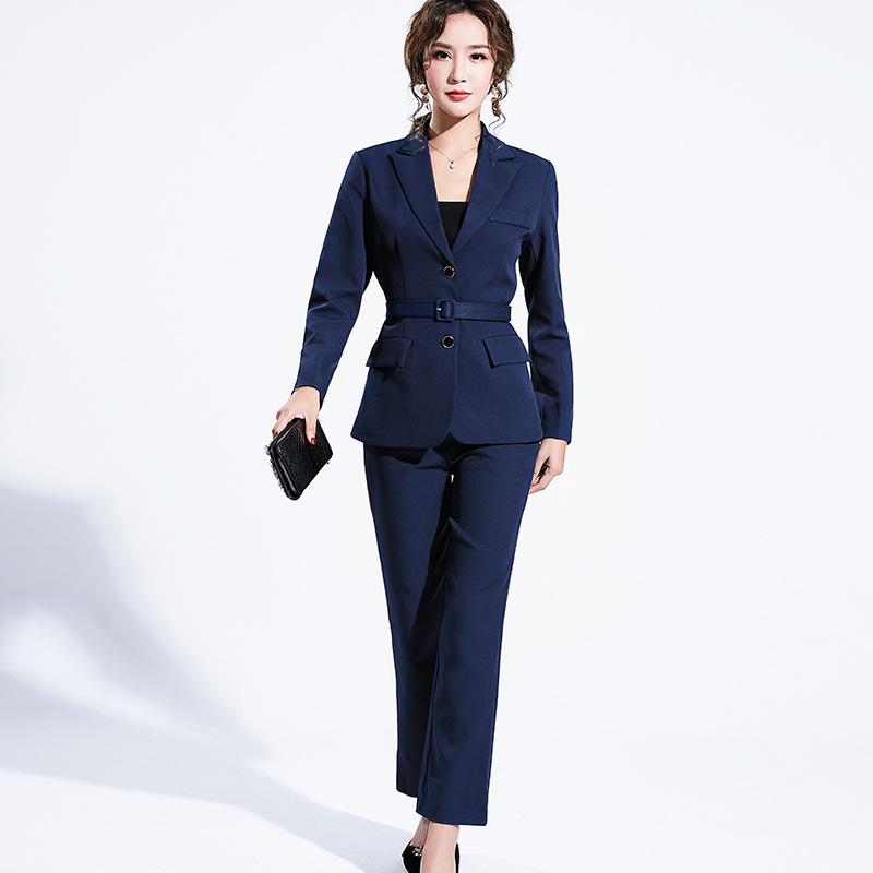 Women's suit 2019 autumn new casual fashion temperament slim slimming solid color single-breasted small suit trousers two-piece 23