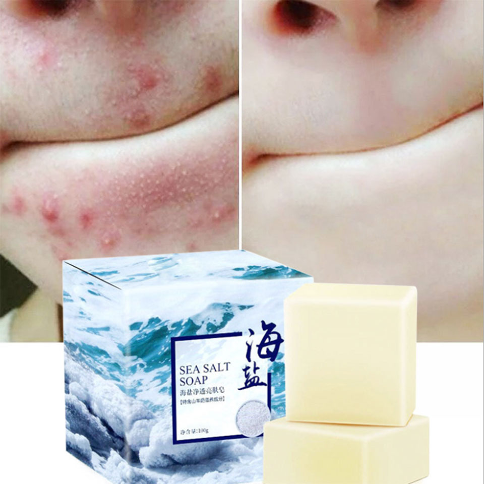 60g Sea Salt Soap Cleaner Removal Pimple Pore Acne Treatment Goat Milk Extract Moisturizing Face Care Wash Basis For Soap HS100