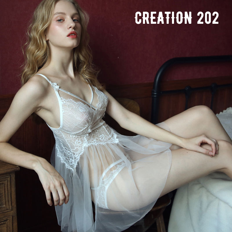 Creation 202 Women's Sexy Suit Perspective on the Lace Lace Suspender Nightdress Sexy Home Wear