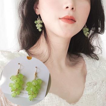 2020 nowy product czyste ręcznie robione zroszony słodki piękny zielony winogron kobiety kolczyki proste małe świeże długie owoce biżuteria dziewczęca prezenty tanie i dobre opinie HHSPPF XY Ze stopu cynku Śliczne Romantyczny Moda EH1027 Spadek kolczyki Żywności Żywica