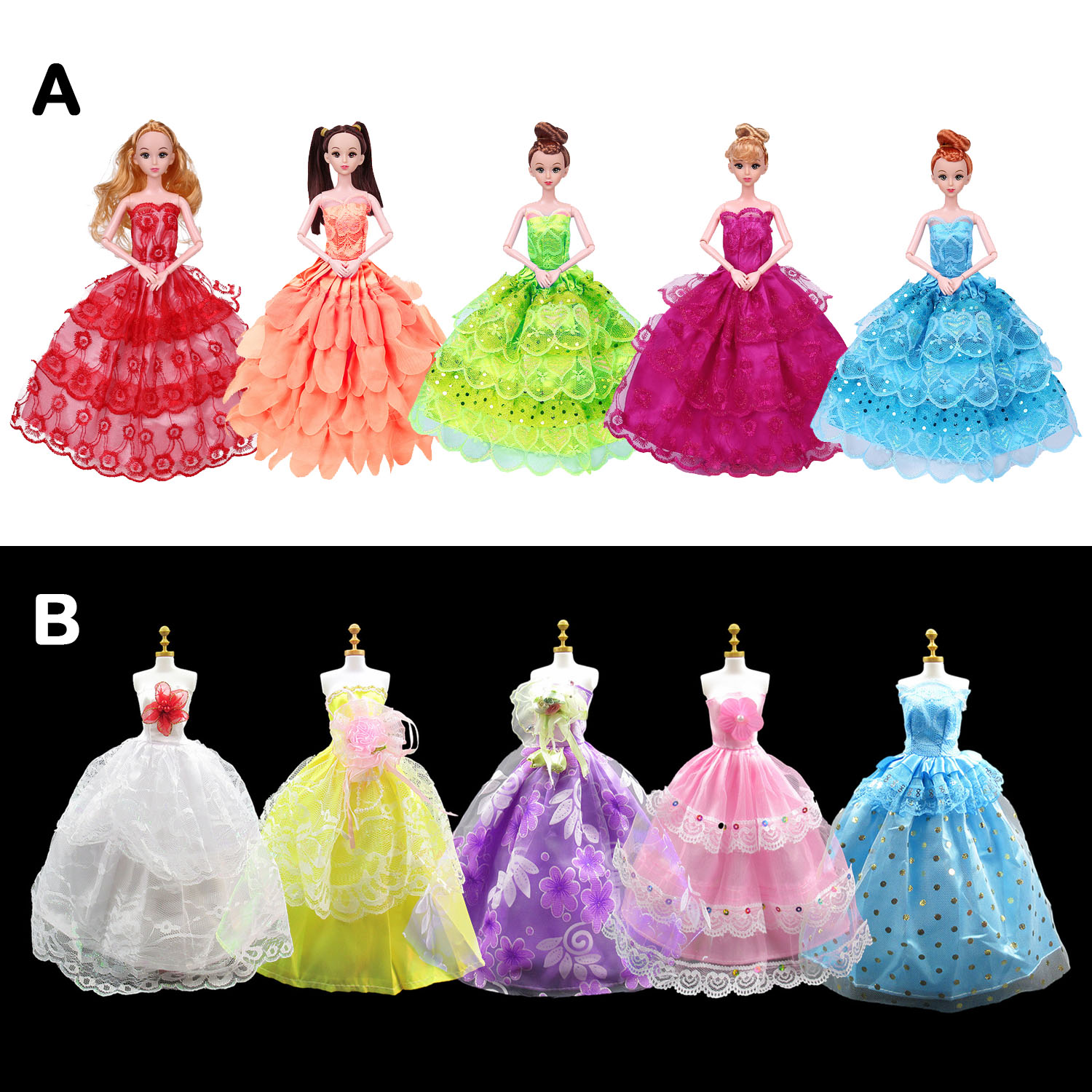 Besegad 5pcs Doll Clothes Fashion Elegant Wedding Party Dresses Gown Outfit Costume Accessories For Barbie 11.5 Inch Girl Doll
