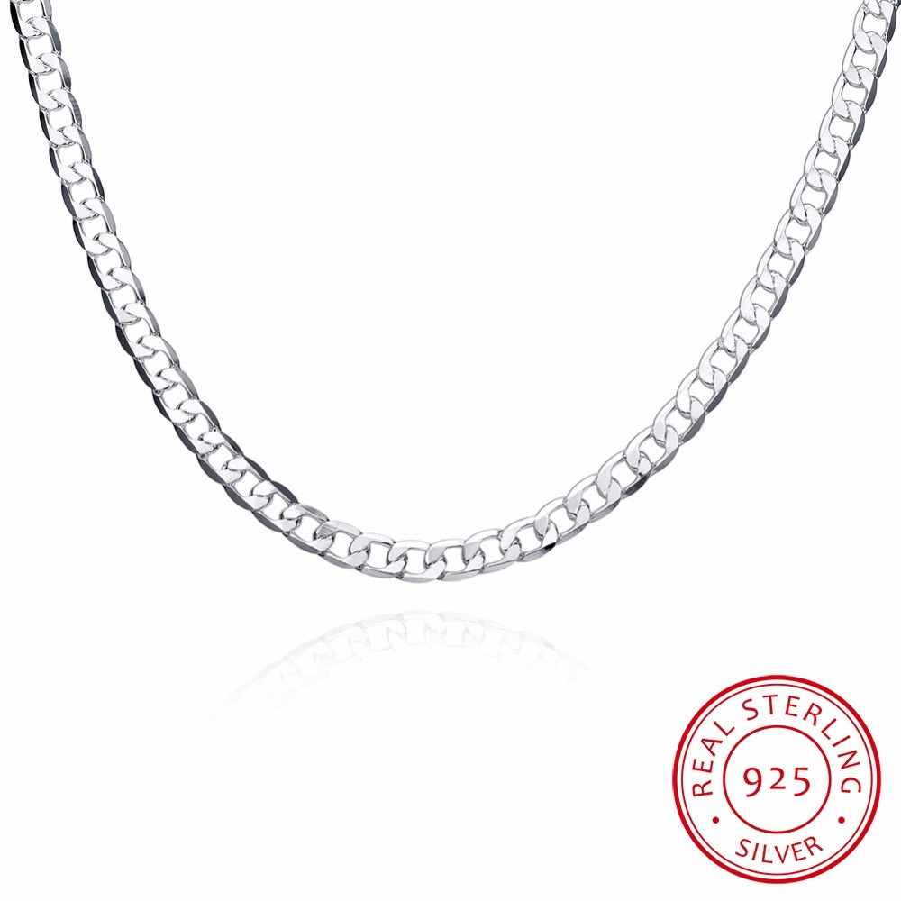 6mm 16inch-24inch Link Chain Necklaces Silver Jewelry Men Necklace, 925 Sterling Silver Necklace Men Jewelry Accessories
