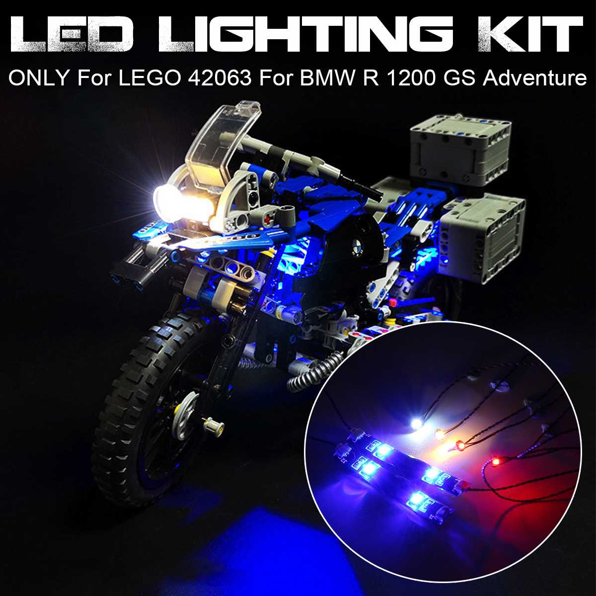 LED Light Lighting Kit for <font><b>LEGO</b></font> for <font><b>42063</b></font> Technic Series for BMW R 1200 GS Adventure Motorcycles Blocks (Only Light Included) image
