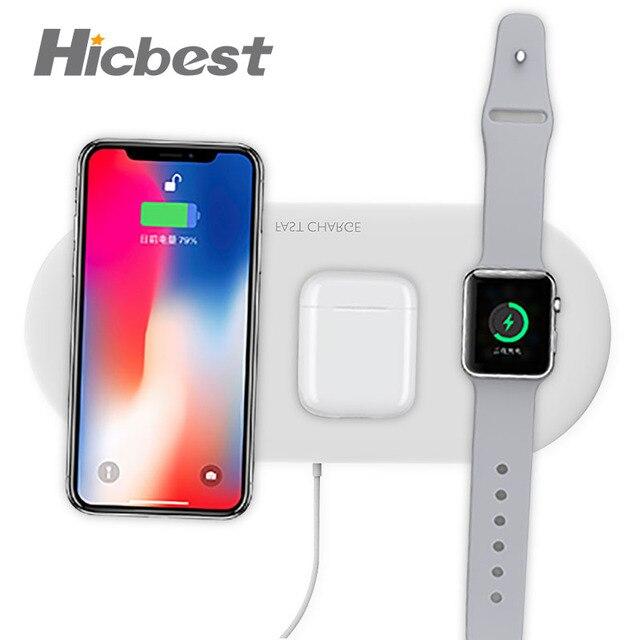 10W 3 In 1 Draadloos Opladen Oplader Pad Voor Iphone Apple Horloge Airpods Draadloze Inductie Oplader 3in1 Voor Iphone 8 X Xr Xs Max