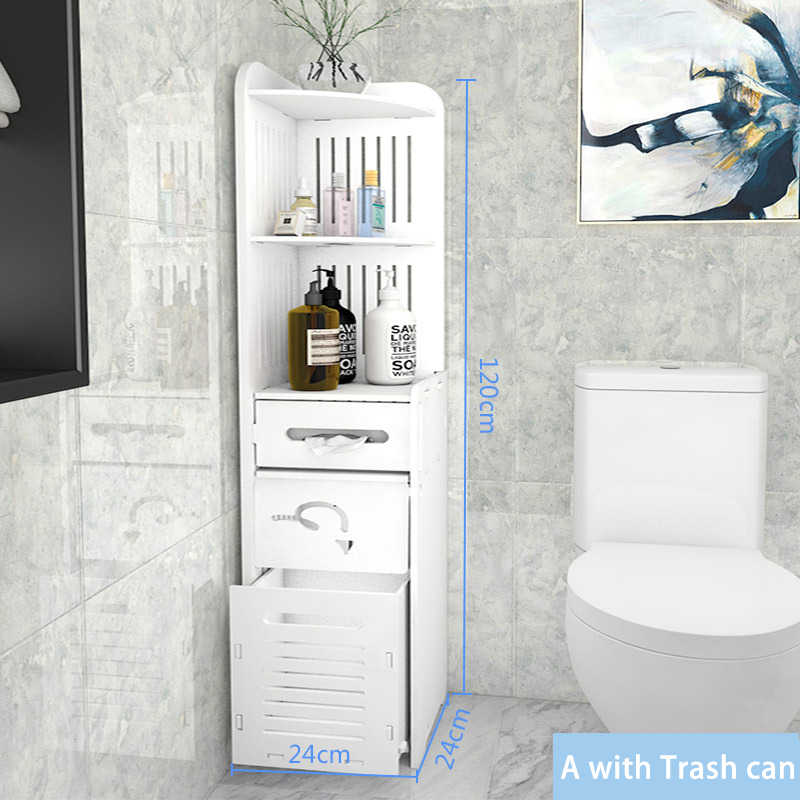 Bathroom Vanity Floor Standing Bathroom Storage Cabinet Washbasin Shower Corner Shelf Sundries Storage Racks With Trash Can Aliexpress