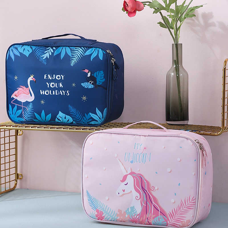 unicorn cosmetic bag waterproof travel organizer toiletry bag Flamingo makeup pouch Multifunction large neceser unicornio