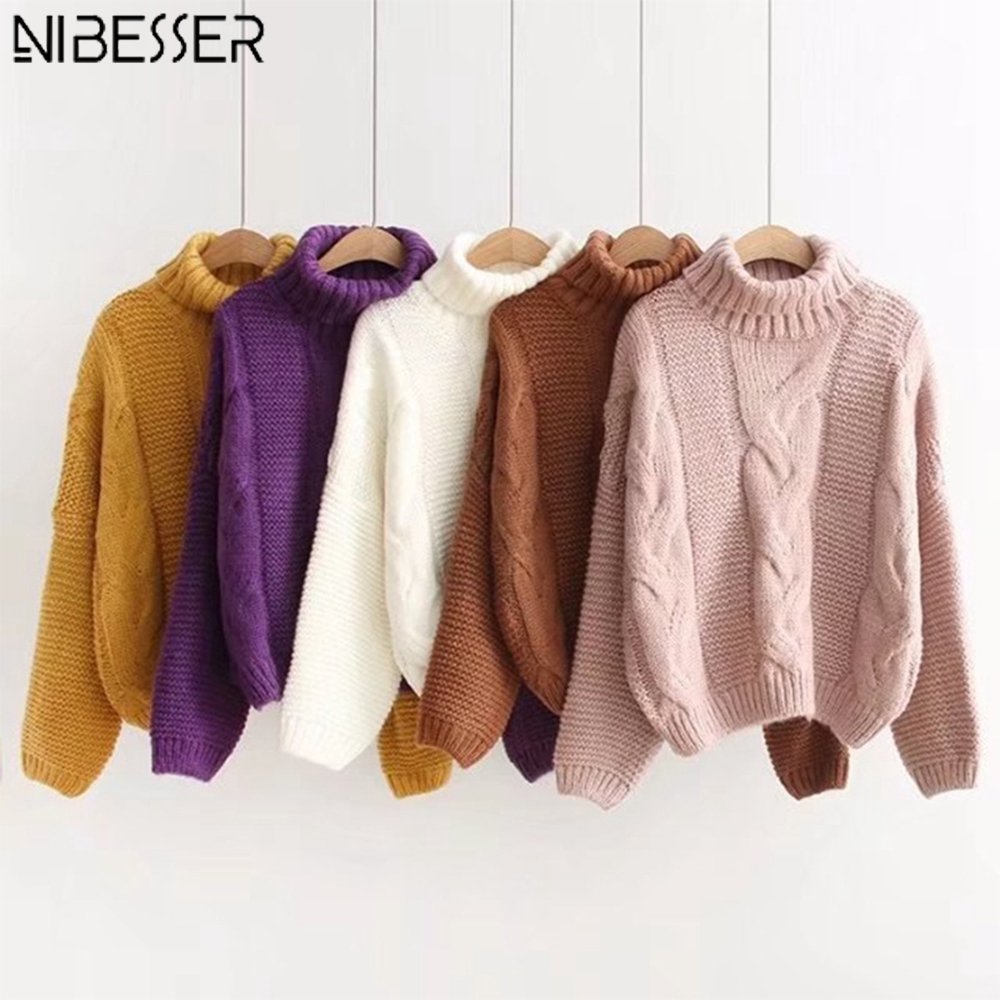 NIBESSER 2019 Autumn Winter Women Solid Sweaters Basic Long Sleeve Pullover Jumpers Batwing Sleeve Casual Knitted Top Streetwear